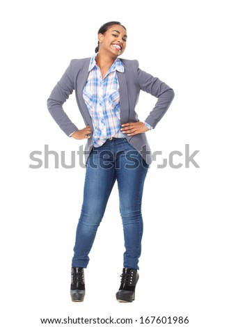 Full body portrait of a cheerful black woman smiling on isolated white background - stock photo