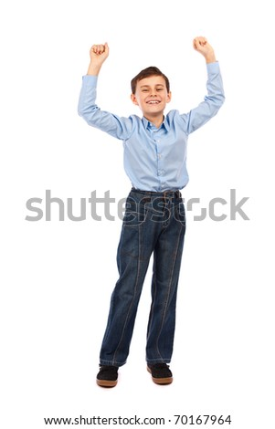 Full body portrait of a cheerful schoolboy isolated on white background - stock photo