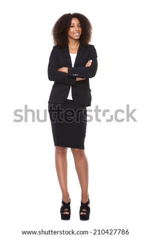 Full body portrait of a young business woman smiling on isolated white background - stock photo