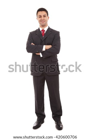 Full body portrait of business man, isolated on white background