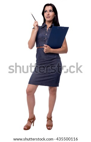 Full body portrait of business woman is happy that the idea came in dress with tablet of paper and pen, isolated on white - stock photo