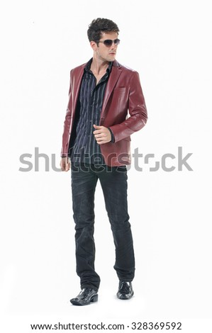 Full body Portrait of confident business man isolated over white background - stock photo