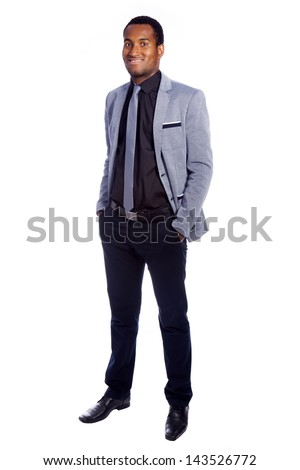 Full body portrait of confident young business man, isolated on white background - stock photo