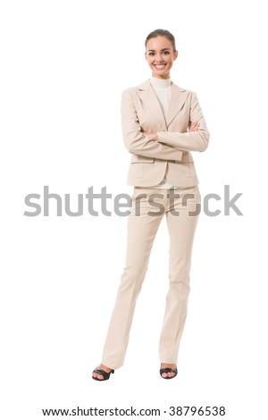 Full-body portrait of happy businesswoman, isolated on white - stock photo