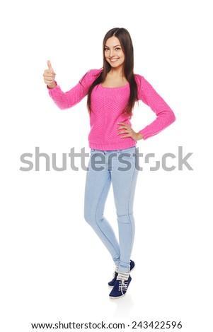 Full body portrait of happy smiling beautiful young woman showing thumbs up gesture, isolated over white background - stock photo