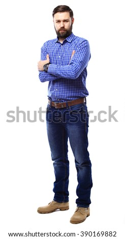 Full body portrait of happy smiling business man, isolated on white background - stock photo