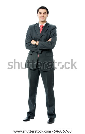 Full body portrait of happy smiling successful businessman, isolated on white background - stock photo