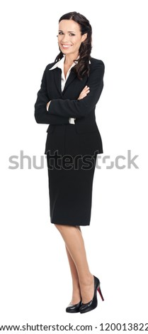 Full body portrait of happy smiling young business woman in black suit, isolated over white background - stock photo