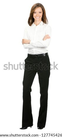 Full body portrait of happy smiling young cheerful business woman, isolated over white background - stock photo