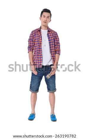 Full body Portrait of happy smiling young men in jeans