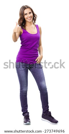 Full body portrait of smiling beautiful young woman in casual smart lilac clothing, showing thumbs up gesture, isolated against white background - stock photo