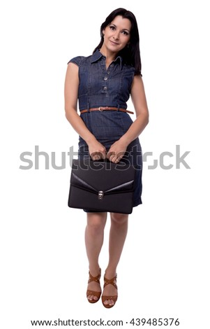 Full body portrait of smiling business woman in dress modest with portfolio, briefcase, isolated on white - stock photo