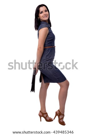 Full body portrait of smiling business woman in dress with portfolio, briefcase, isolated on white - stock photo
