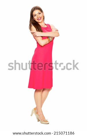 Full body portrait of smiling woman in red dress. Fashion portrait.