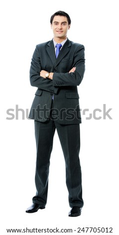 Full body portrait of smiling young businessman in blue tie, isolated against white background - stock photo