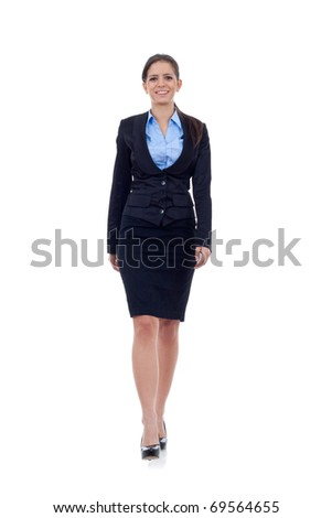 Full body portrait of walking to the camera business woman, isolated on white - stock photo