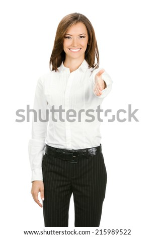 Full body portrait of young cheerful beautiful businesswoman giving hand for handshake, isolated on white background - stock photo