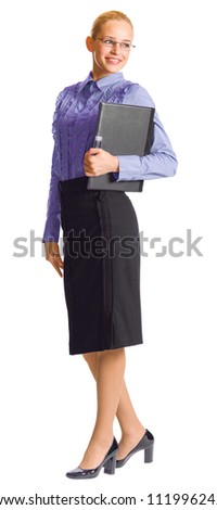 Full body portrait of young happy smiling business woman with notebook, isolated over white background - stock photo