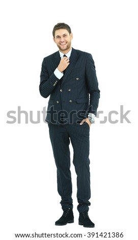 Full body portrait of young happy smiling cheerful business man - stock photo