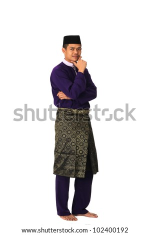 Full body portrait of young muslim with malaysia traditional  baju melayu isolated on white - stock photo