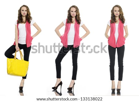 Full body portrait of young three woman standing with yellow bag posing