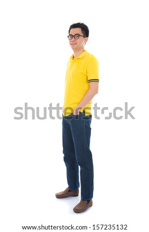 Full body shot of a teenager in casual attire  - stock photo