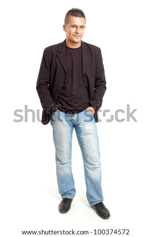 full body shot  of a young man, isolated on white - stock photo