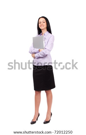 Full body shot of an attractive hispanic businesswoman isolated on white background - stock photo