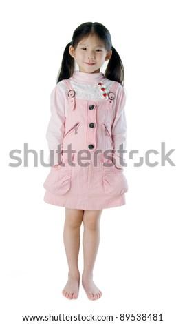 full body shot of little asian girl - stock photo