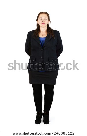Full body shot of professional middle-aged woman on white      - stock photo