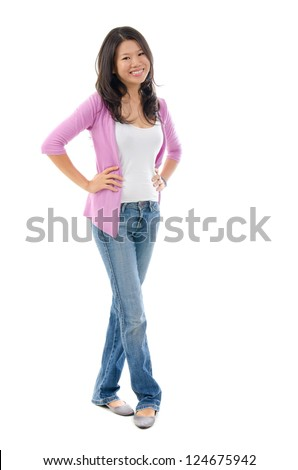 Full body Southeast Asian female smiling over white background - stock photo
