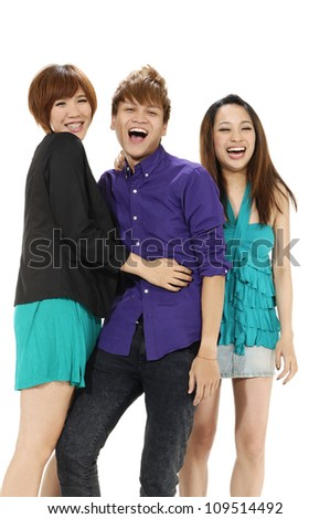 Full body three young people posing - stock photo