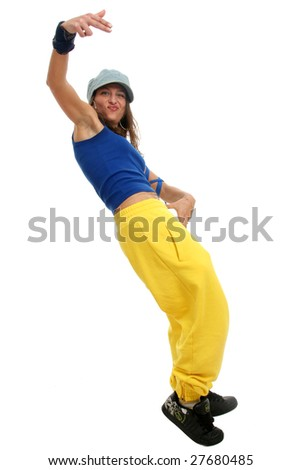 Full body view of young woman in street wear making a break dance move. Isolated on white.