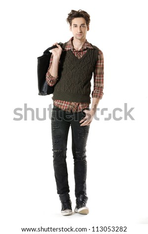 Full body young Casual man walking posing in the studio