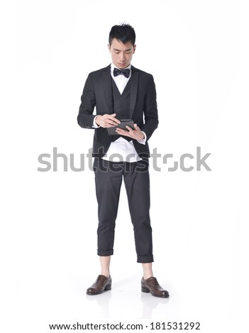 Full body Young man with tablet posing