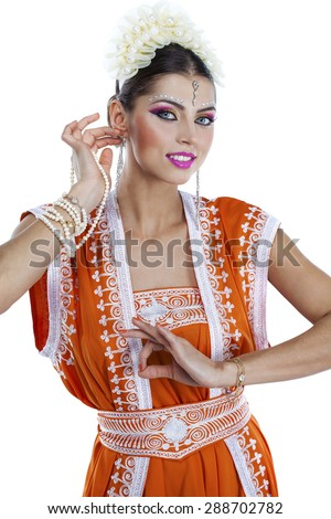 Full body young traditional Asian Indian woman in indian sari, isolated on white background - stock photo