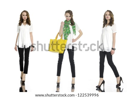 Full body young woman in casual clothes with bag ,scarf posing over white background - stock photo