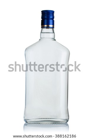 full bottle of vodka on a white background - stock photo