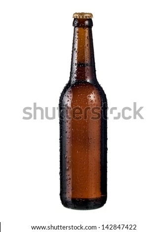 Full brown beer bottle with drops