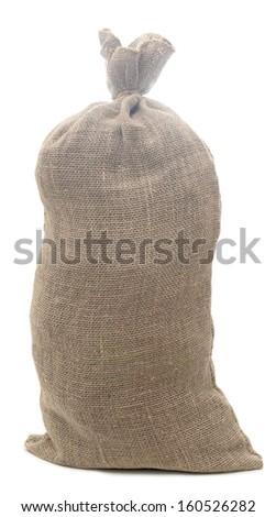 full burlap sack isolated on white background - stock photo