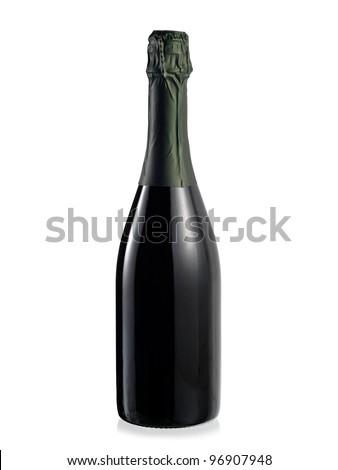 Full champagne bottle - stock photo