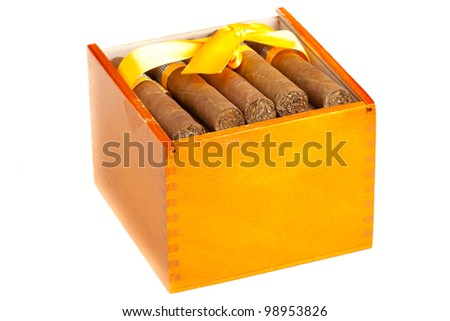 Full cigar box from wood isolated over white background - stock photo
