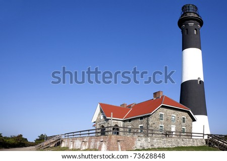Full close up view of the Fire Island Lighthouse. Fire Island National Seashore, Long Island, New York. - stock photo