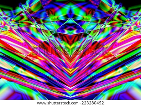 full-color abstract geometric symmetrical background, blue, green, red