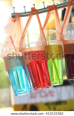 full color sweet water in the plastic glass
