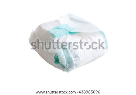 full diaper of a baby isolated over a white background - stock photo