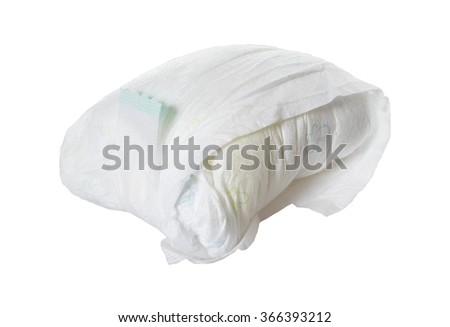 full diaper of a baby isolated over a white background / full diaper - stock photo