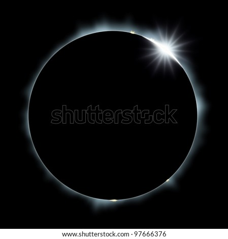 Full Eclipse of the Sun on black - stock photo