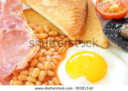 Full English breakfast close-up - stock photo