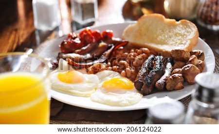 full english breakfast in panoramic composition - stock photo